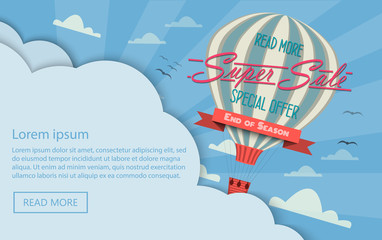 Super tag sale in a hot air balloon flying in the sky. Sale background. Big Sale. Sale tag. Sale poster. Sale vector. Super Sale and special offer. 50% discount. Vector illustration.