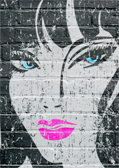 Art urbain, portrait grunge d'une jeune femme