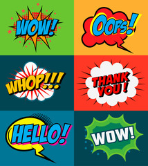 Set of comic style phrases on colorful background. Pop art style