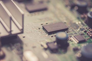 Computerchip auf Platine, Nahaufnahme