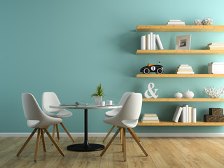 Part of interior with white chairs and shelving 3D rendering 3