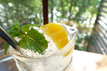 Mint leaf at the top of ice in lemon juice glass.