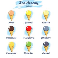 Set of cartoon ice cream icons