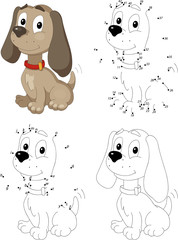 Cartoon dog. Coloring book and dot to dot game for kids