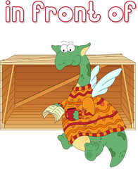 Cartoon dragon reads a book in front of the box. English grammar