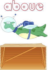 Cartoon dragon astronaut flies above the box. English grammar in