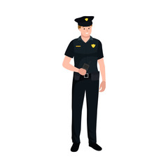 Serve and protect. Police man, officer male, vector illustration