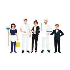 Restaurant team, man cooking chef, manager, waiter, cleaning woman.