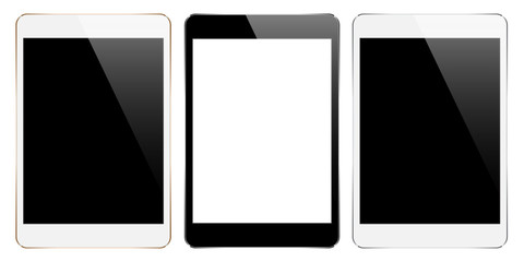 mock up tablet collection set isolated on white vector design