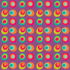 Vector dotted circle seamless pattern, multi colored. Bright child design in pink, green, blue, orange, purple for wrapping, background, websites, greeting, invitation cards, fabric, textile