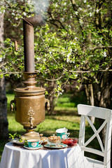 Traditional russian tea with old samovar in the garden in spring