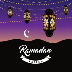 Ramadan crescent moon and lanterns design. EPS 10 vector.