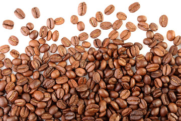 a scattering of coffee beans on white background