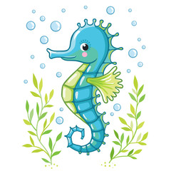 Cute cartoon Sea horse isolated. Seahorse and algae on a white background, vector illustration.
