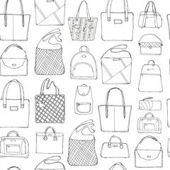 Hand drawn doodle sketch illustration seamless pattern of bags - case, handbag, Lady's bag, Clutch, sports bag isolated on white. Coloring book