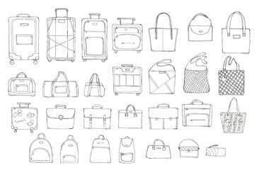 Hand drawn doodle sketch illustration set of 28 pcs bags - baggage for travel, suitcase, case, handbag, portmanteau, Lady's bag, Clutch, Beach bag, sports bag isolated on white. Coloring book