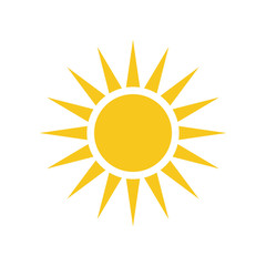 Sun icon. Light sign with sunbeams. Yellow design element, isolated on white background. Symbol of sunrise, heat, sunny and sunset, sunlight. Flat modern style for weather forecast Vector Illustration