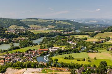 Nature overlook with rivers in Switzerland