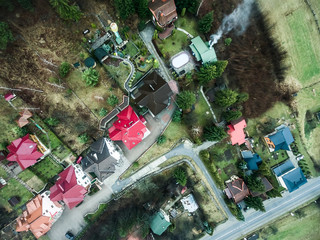 top view of colorful roofs in Yaremcha, Carpathian Mountains, Ukraine