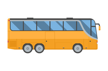 Travel yellow bus. Coach shuttle isolated on white background. Route tourist autobus vector illustration.