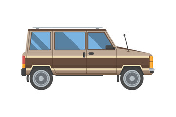 Papiers peints Vintage voitures Adventure car in flat design. Old minivan for travel. Vector voyage auto in retro colors isolated on white background.