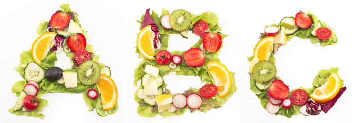 Alphabet  healthy food made of salad and fruits