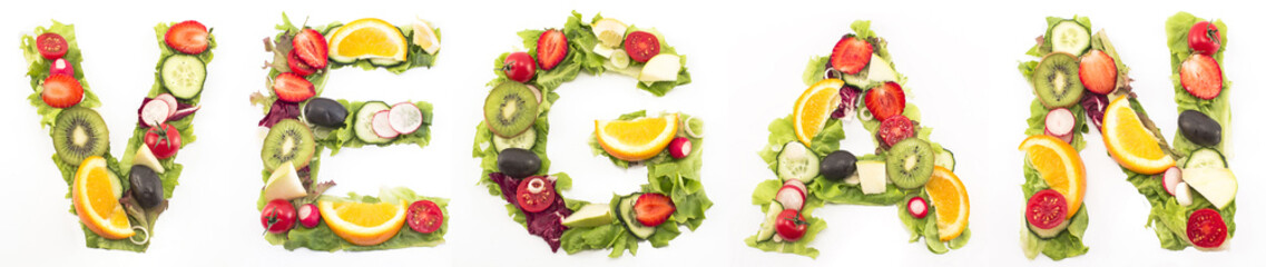 Word vegan made of salad and fruits