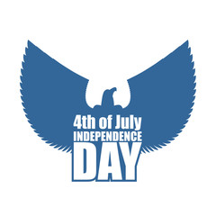Independence Day of America emblem. Silhouette of eagle with out