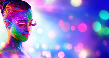 Uv Woman Portrait - Creative Fluorescent Makeup - Neon Body Painting