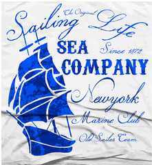 Old ship marine club watercolor tee graphic design