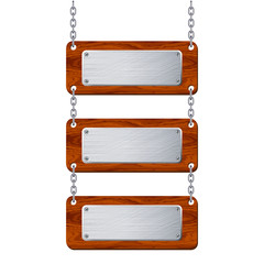 Metal plate on wooden plank set hanging on chain.