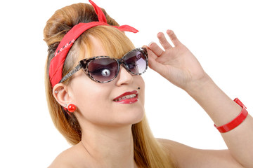 beautiful pin up girl with sunglasses