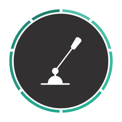 computer microphone Simple flat white vector pictogram on black circle. Illustration icon