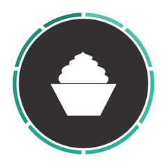 cupcake Simple flat white vector pictogram on black circle. Illustration icon