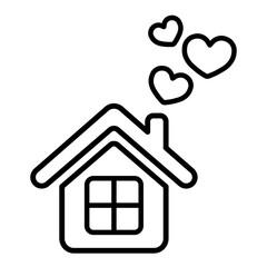 home love care heart valentine thin line icon