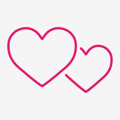 couple hearts love valentine romantic thin line icon