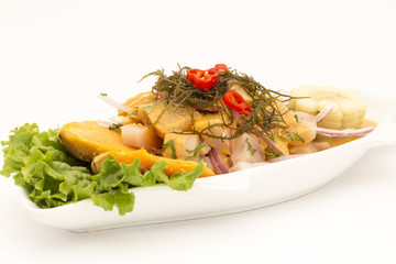 "Peru Dish: Cebiche (ceviche) on ""sea urchin"" sauce, with potato"