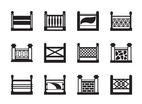 Various railings for balconies - vector illustration