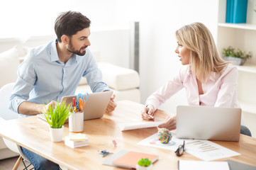 Successful business partners are working in cooperation