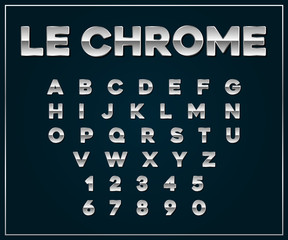 Chrome Silver Metallic Font Set. Letters, Numbers in Vector
