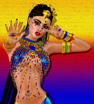 Egyptian braids, beads, beauty and gold all wrapped up in our digital art fantasy scene. This seductive woman poses against a unique gold abstract backgrounds as well and makes the scene even richer.