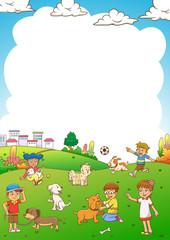 child and pet cartoon