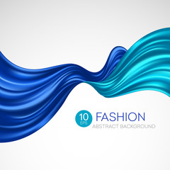 Blue flying silk fabric. Fashion background. Vector illustration
