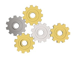 Bright gold and silver gears - front view