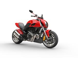 Red sports bike - studio lighting - isolated on white background