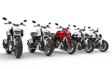 Cool motorcycles - red one stands out - isolated on white background