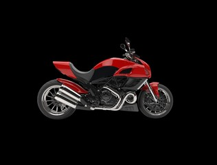 Red sports bike - side view - isolated on black background