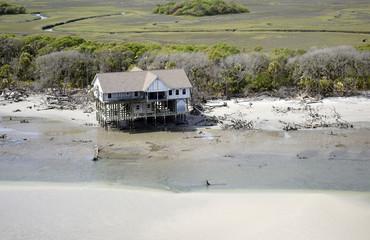 The Barrier Islands of South Carolina, abandoned beach house