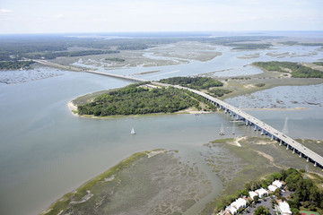 Aerial view of Hilton Head Bridge SC
