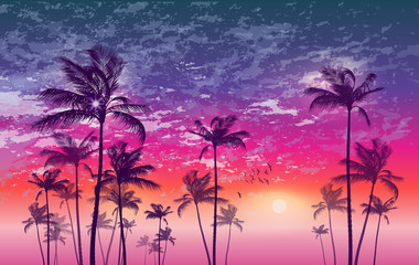 Wall Mural - Exotic tropical palm trees  at sunset, with cloudy sky